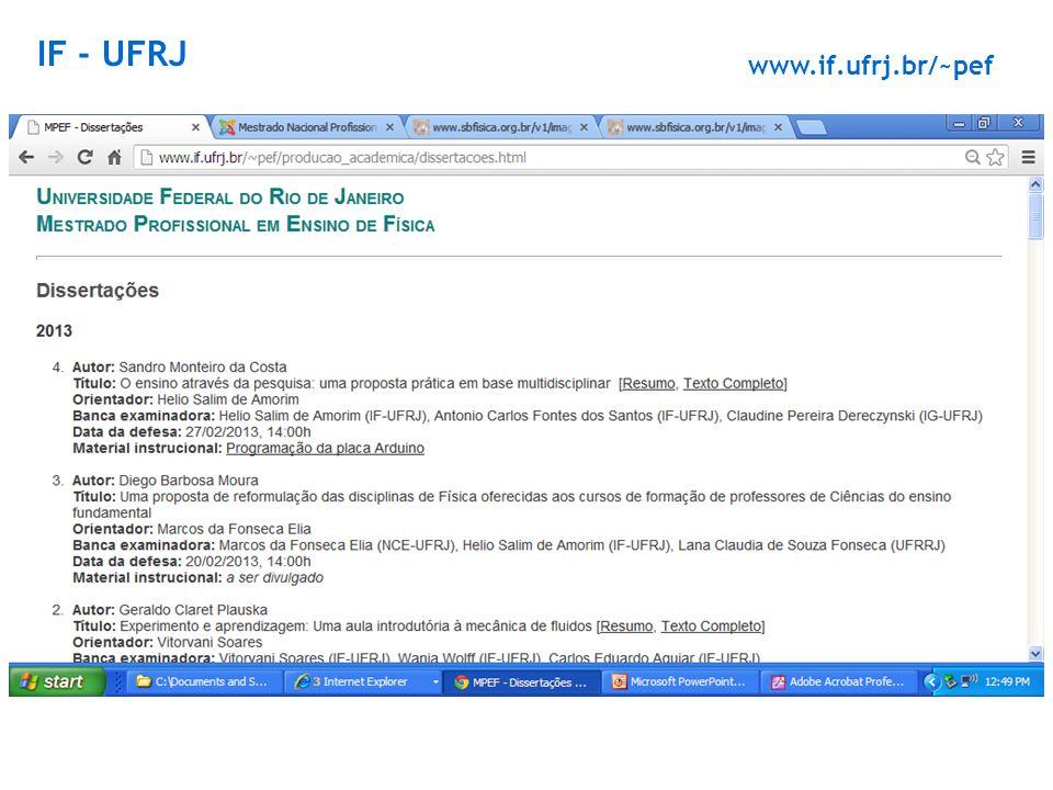 IF - UFRJ www.if.ufrj.br/~pef