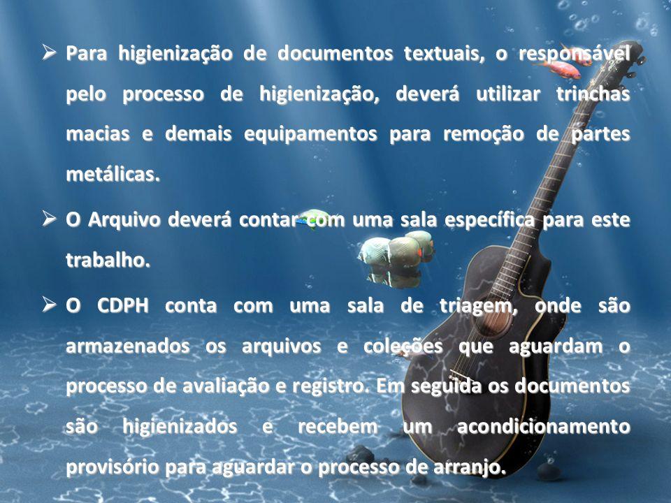 Para higienização de documentos textuais, o responsável pelo processo de higienização, deverá utilizar trinchas macias e demais equipamentos para remoção de partes metálicas.