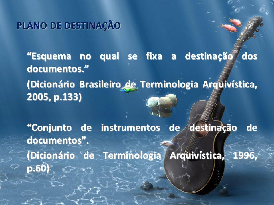 PLANO DE DESTINAÇÃO Esquema no qual se fixa a destinação dos documentos. (Dicionário Brasileiro de Terminologia Arquivística, 2005, p.133)