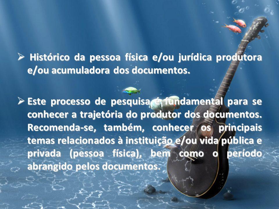 Histórico da pessoa física e/ou jurídica produtora e/ou acumuladora dos documentos.