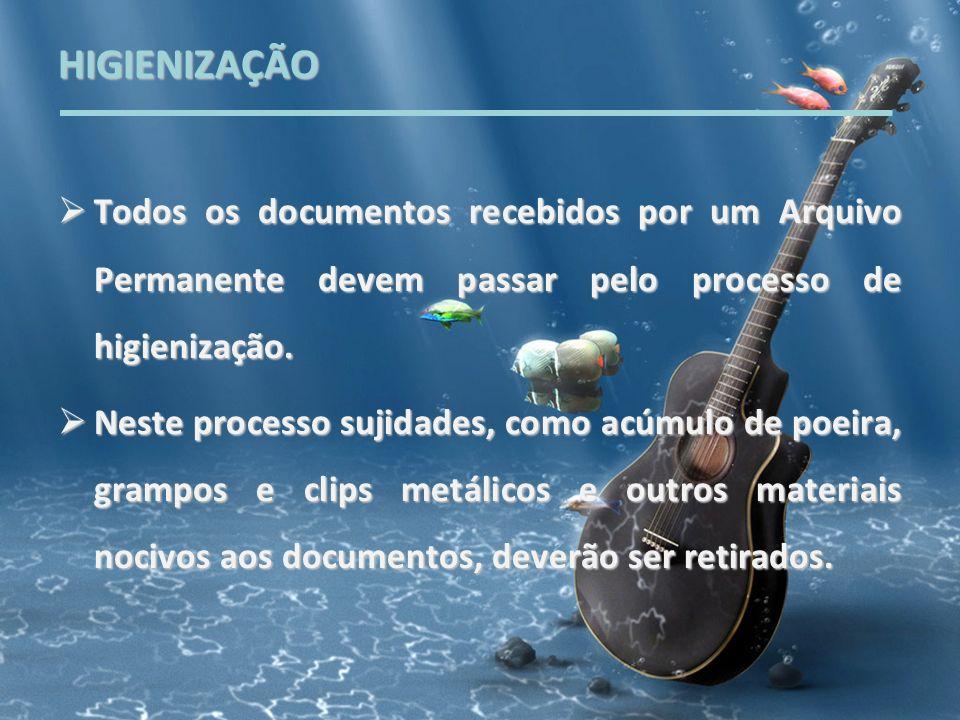 HIGIENIZAÇÃO Todos os documentos recebidos por um Arquivo Permanente devem passar pelo processo de higienização.