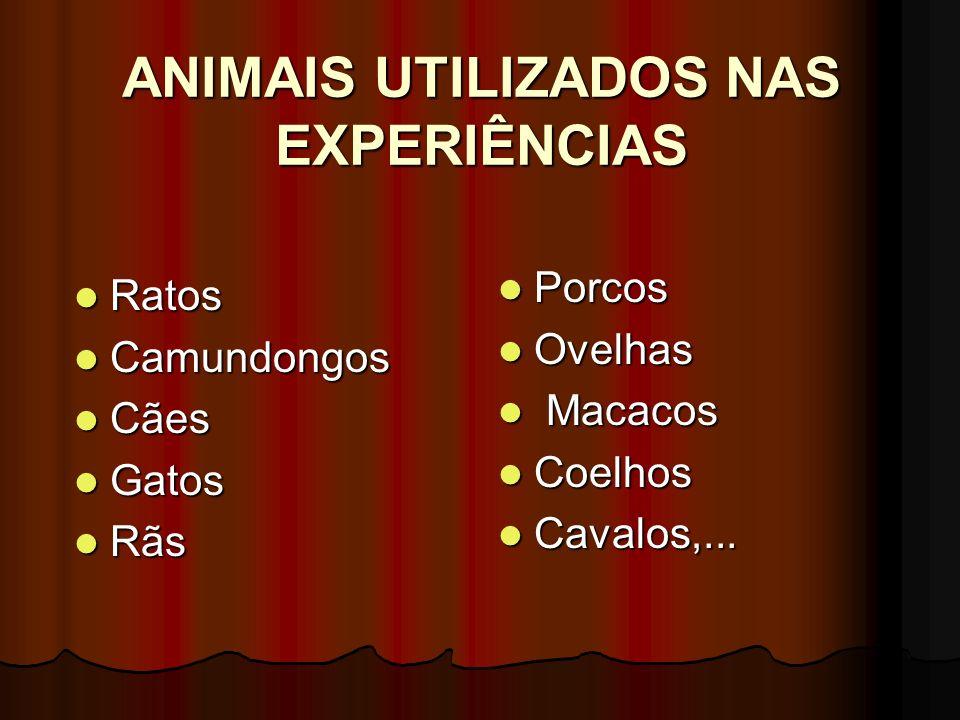 ANIMAIS UTILIZADOS NAS EXPERIÊNCIAS