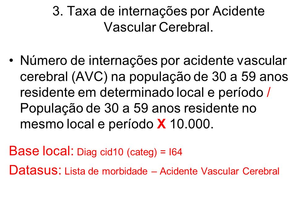 3. Taxa de internações por Acidente Vascular Cerebral.