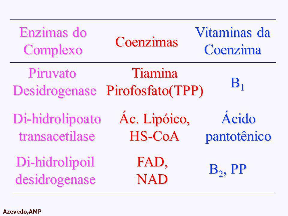 Enzimas do Complexo. Vitaminas da. Coenzima. Coenzimas. Piruvato. Desidrogenase. Tiamina. Pirofosfato(TPP)