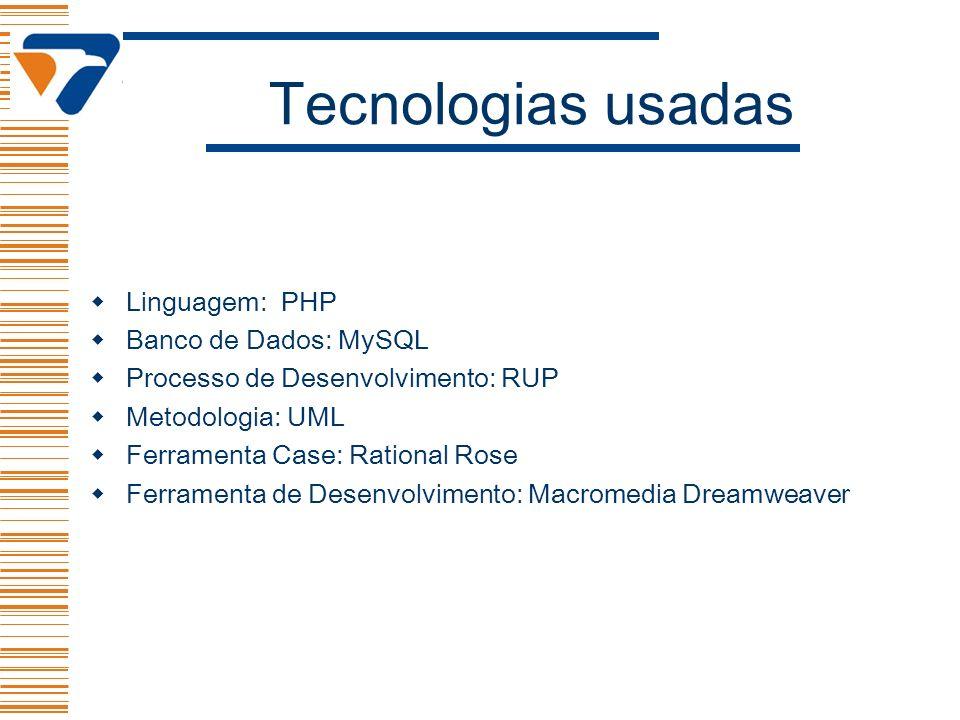 Tecnologias usadas Linguagem: PHP Banco de Dados: MySQL