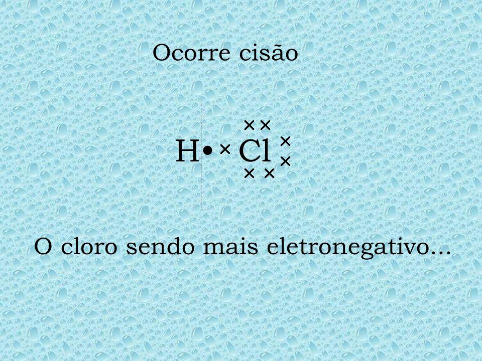 O cloro sendo mais eletronegativo...