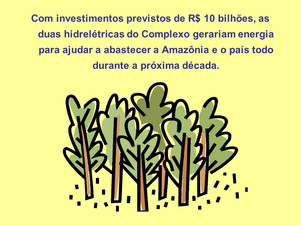 Com investimentos previstos de R$ 10 bilhões, as duas hidrelétricas do Complexo gerariam energia para ajudar a abastecer a Amazônia e o país todo durante a próxima década.