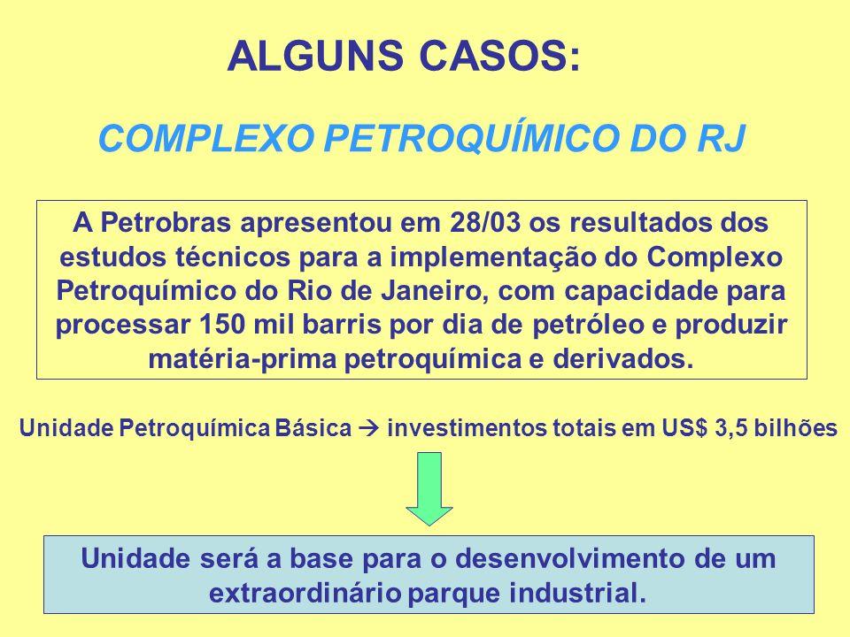 ALGUNS CASOS: COMPLEXO PETROQUÍMICO DO RJ