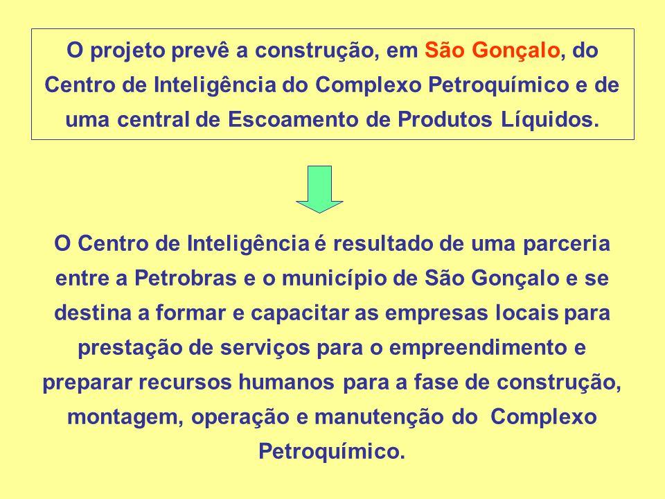 O projeto prevê a construção, em São Gonçalo, do Centro de Inteligência do Complexo Petroquímico e de uma central de Escoamento de Produtos Líquidos.