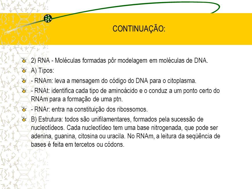 CONTINUAÇÃO: 2) RNA - Moléculas formadas pôr modelagem em moléculas de DNA. A) Tipos: - RNAm: leva a mensagem do código do DNA para o citoplasma.