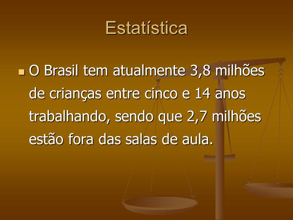 Estatística O Brasil tem atualmente 3,8 milhões de crianças entre cinco e 14 anos trabalhando, sendo que 2,7 milhões estão fora das salas de aula.