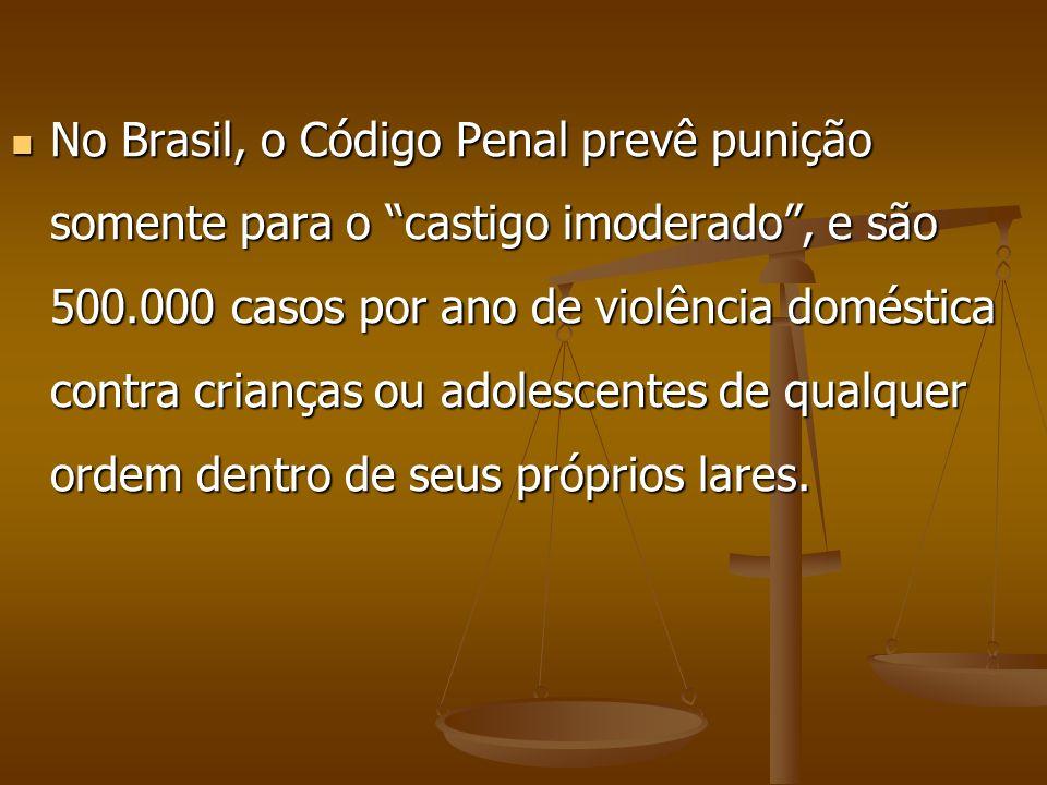 No Brasil, o Código Penal prevê punição somente para o castigo imoderado , e são 500.000 casos por ano de violência doméstica contra crianças ou adolescentes de qualquer ordem dentro de seus próprios lares.