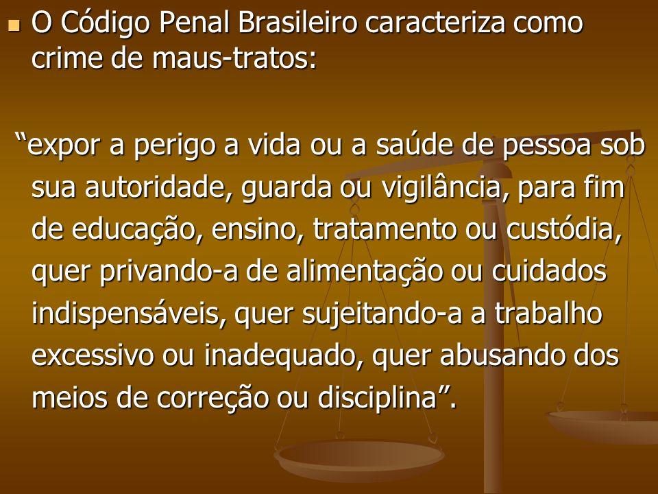 O Código Penal Brasileiro caracteriza como crime de maus-tratos: