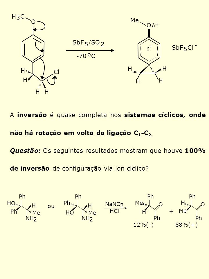 H3. C. O. Me. O. d. + SbF. 5. /SO. 2. + - d. SbF. 5. Cl. -70. o. C. H. H. H. Cl. H. H. H. H. H.