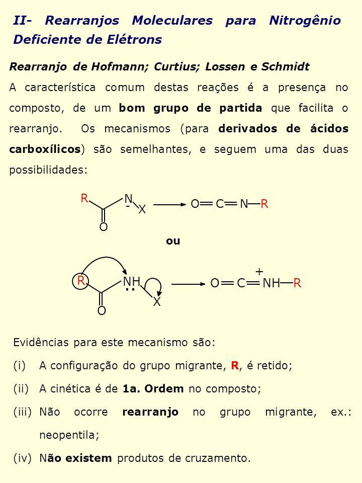.. II- Rearranjos Moleculares para Nitrogênio Deficiente de Elétrons +