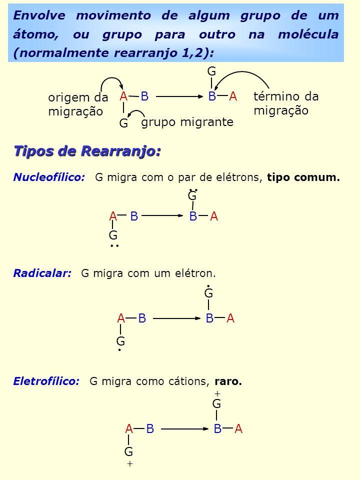 Envolve movimento de algum grupo de um átomo, ou grupo para outro na molécula (normalmente rearranjo 1,2):