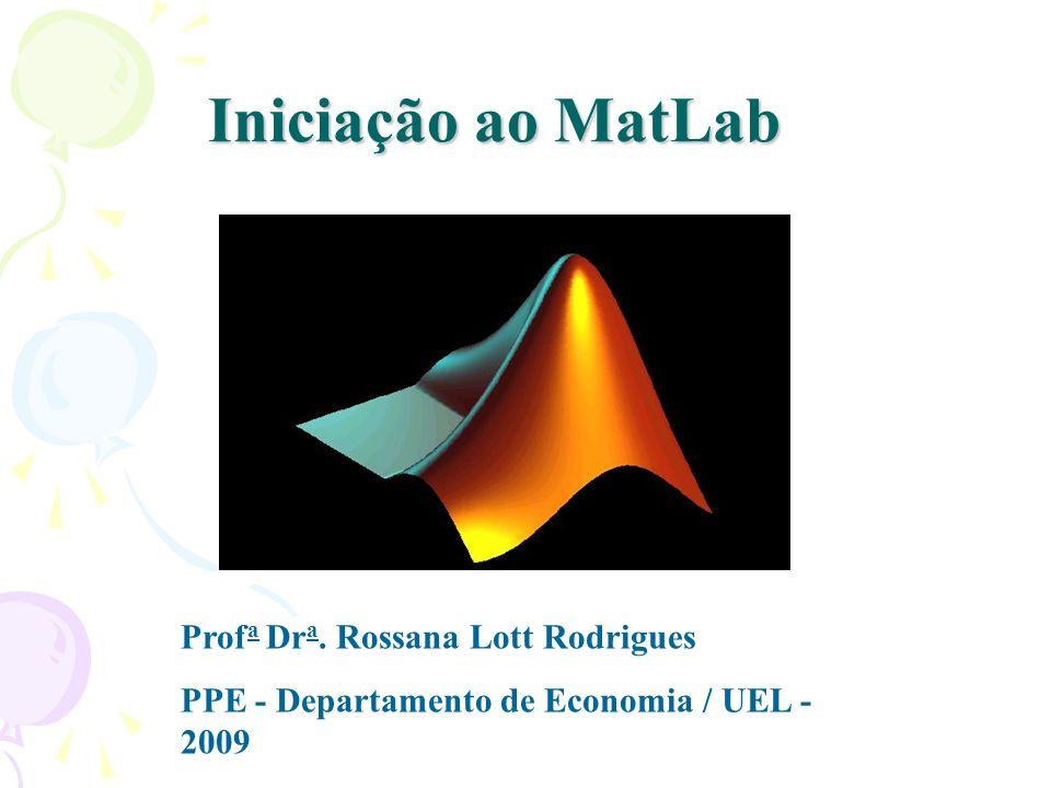 Iniciação ao MatLab Profa Dra. Rossana Lott Rodrigues
