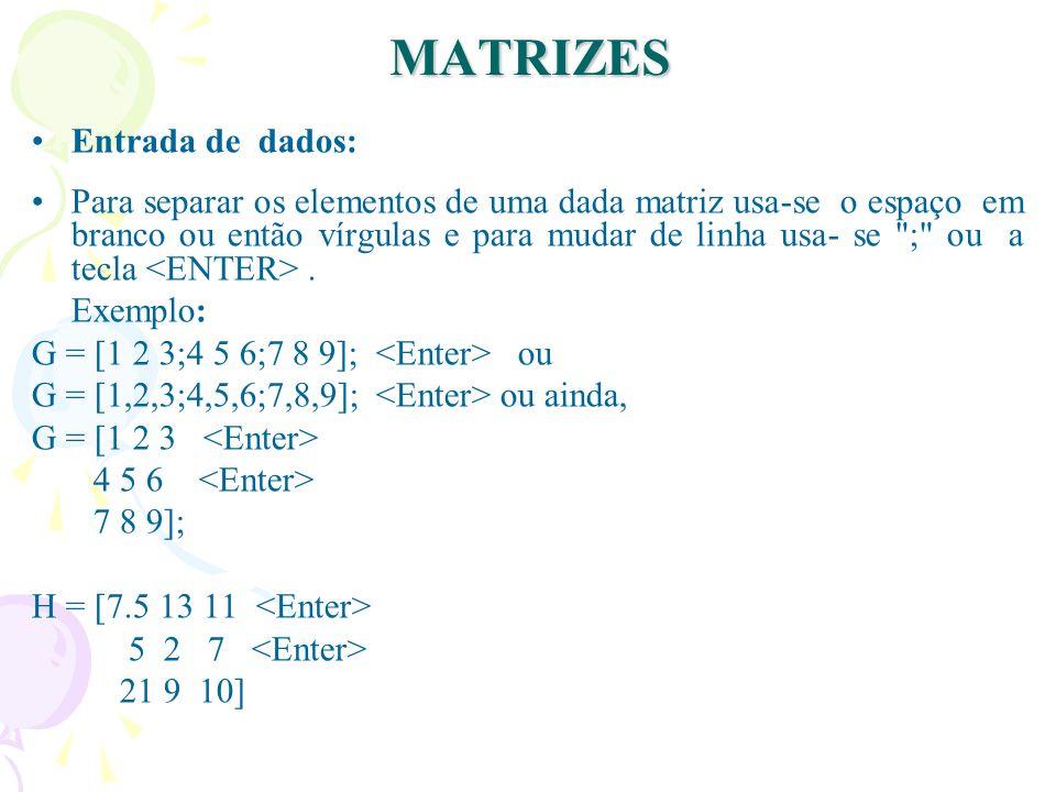 MATRIZES Entrada de dados: