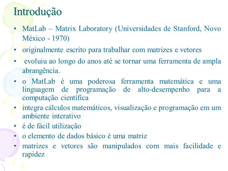 Introdução MatLab – Matrix Laboratory (Universidades de Stanford, Novo México - 1970) originalmente escrito para trabalhar com matrizes e vetores.