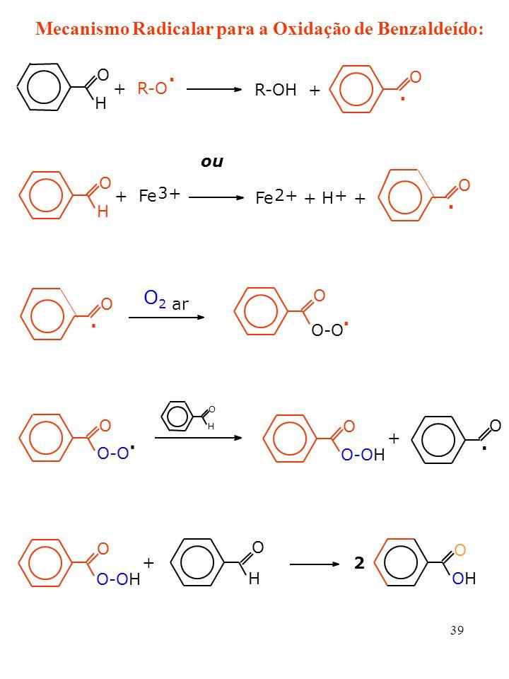 . . . . . . . Mecanismo Radicalar para a Oxidação de Benzaldeído: O2 O
