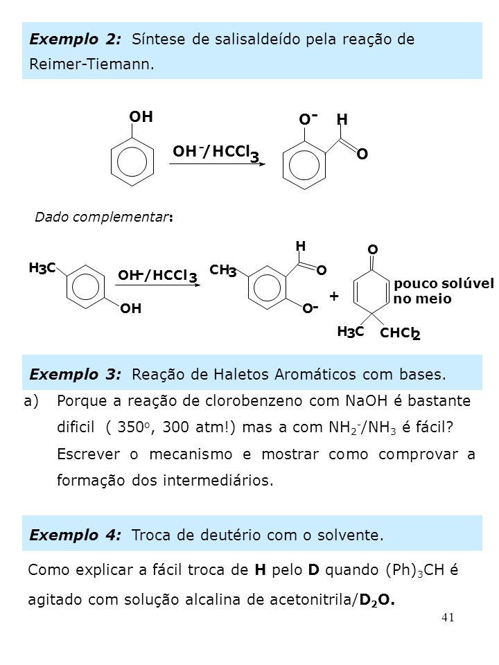 Exemplo 2: Síntese de salisaldeído pela reação de Reimer-Tiemann.