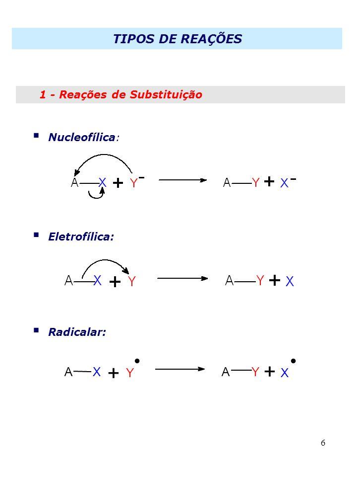 . . + + Nucleofílica: Eletrofílica: Radicalar: A X Y A Y X