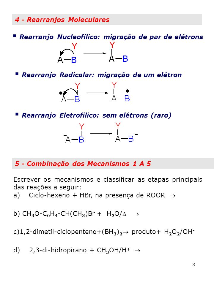 Rearranjo Nucleofílico: migração de par de elétrons