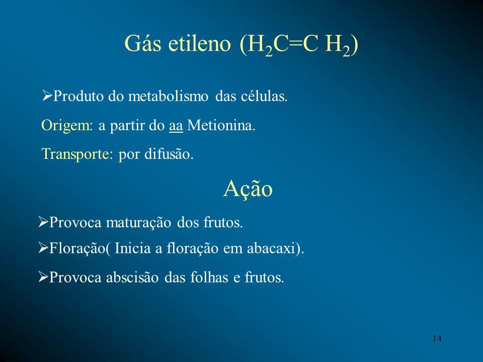 Gás etileno (H2C=C H2) Ação Produto do metabolismo das células.