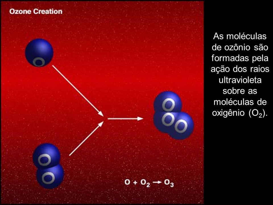 As moléculas de ozônio são formadas pela ação dos raios ultravioleta sobre as moléculas de oxigênio (O2).