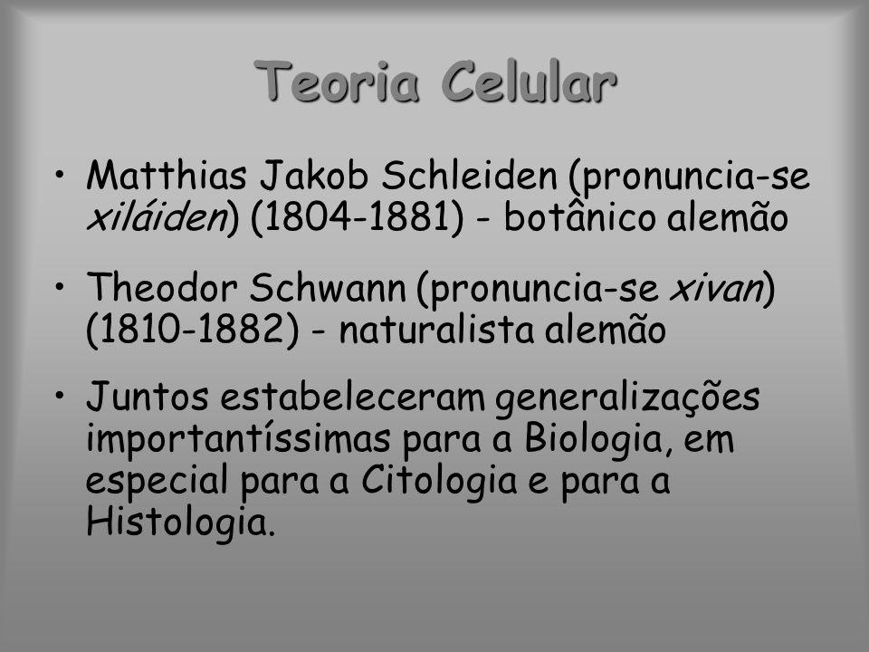 Teoria Celular Matthias Jakob Schleiden (pronuncia-se xiláiden) (1804-1881) - botânico alemão.
