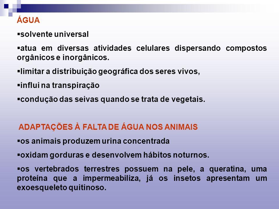 ÁGUA solvente universal. atua em diversas atividades celulares dispersando compostos orgânicos e inorgânicos.