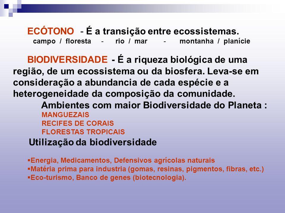 ECÓTONO - É a transição entre ecossistemas.