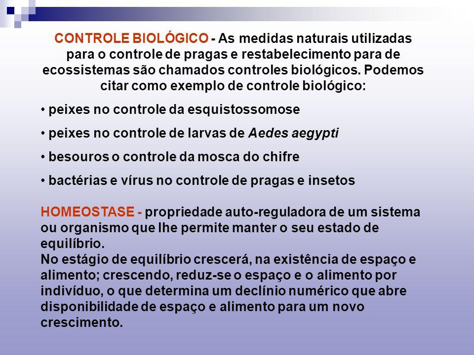 CONTROLE BIOLÓGICO - As medidas naturais utilizadas para o controle de pragas e restabelecimento para de ecossistemas são chamados controles biológicos. Podemos citar como exemplo de controle biológico: