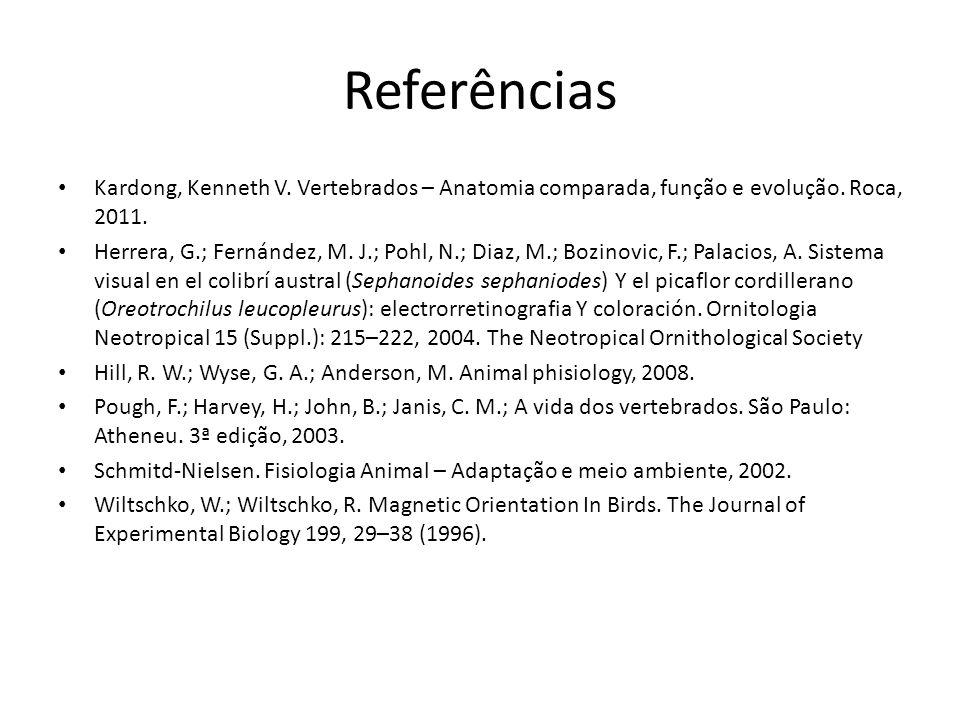 Referências Kardong, Kenneth V. Vertebrados – Anatomia comparada, função e evolução. Roca, 2011.