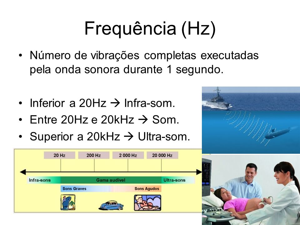 Frequência (Hz) Número de vibrações completas executadas pela onda sonora durante 1 segundo. Inferior a 20Hz  Infra-som.