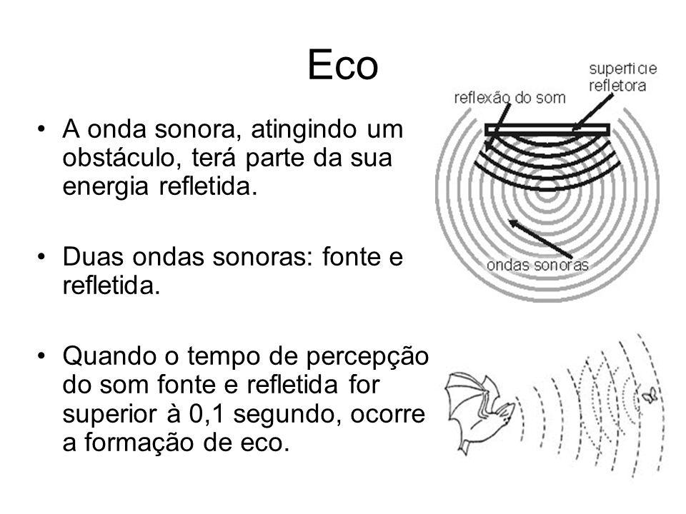 Eco A onda sonora, atingindo um obstáculo, terá parte da sua energia refletida. Duas ondas sonoras: fonte e refletida.
