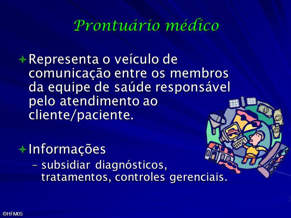 Prontuário médico Representa o veículo de comunicação entre os membros da equipe de saúde responsável pelo atendimento ao cliente/paciente.