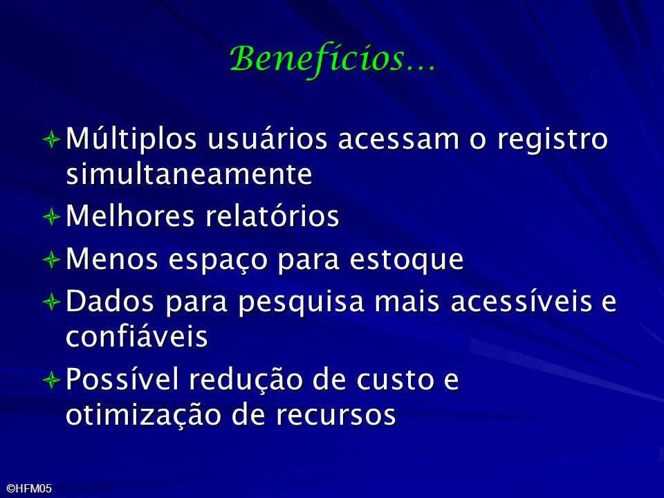 Benefícios… Múltiplos usuários acessam o registro simultaneamente