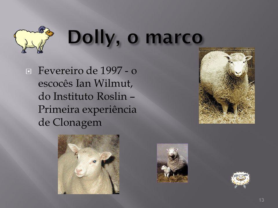 Dolly, o marcoFevereiro de 1997 - o escocês Ian Wilmut, do Instituto Roslin – Primeira experiência de Clonagem.