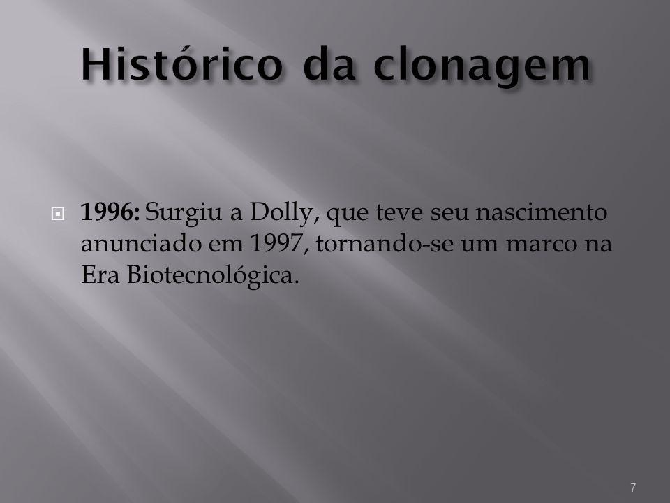Histórico da clonagem1996: Surgiu a Dolly, que teve seu nascimento anunciado em 1997, tornando-se um marco na Era Biotecnológica.
