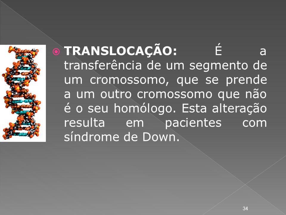 TRANSLOCAÇÃO: É a transferência de um segmento de um cromossomo, que se prende a um outro cromossomo que não é o seu homólogo.