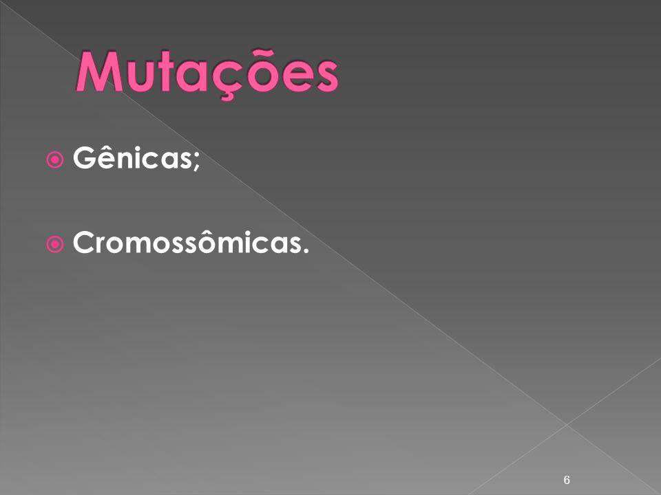 Mutações Gênicas; Cromossômicas.