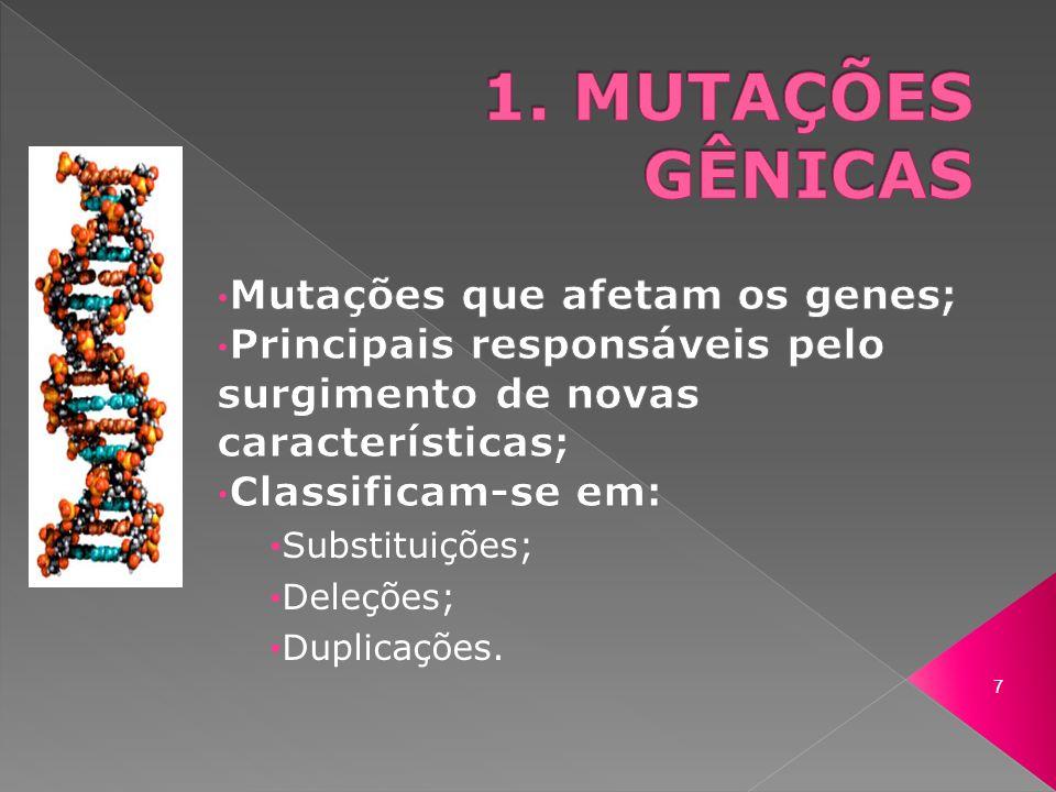 1. MUTAÇÕES GÊNICAS Mutações que afetam os genes;