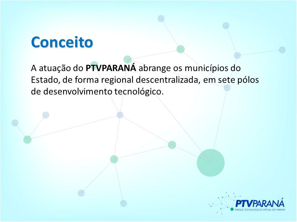 ConceitoA atuação do PTVPARANÁ abrange os municípios do Estado, de forma regional descentralizada, em sete pólos de desenvolvimento tecnológico.
