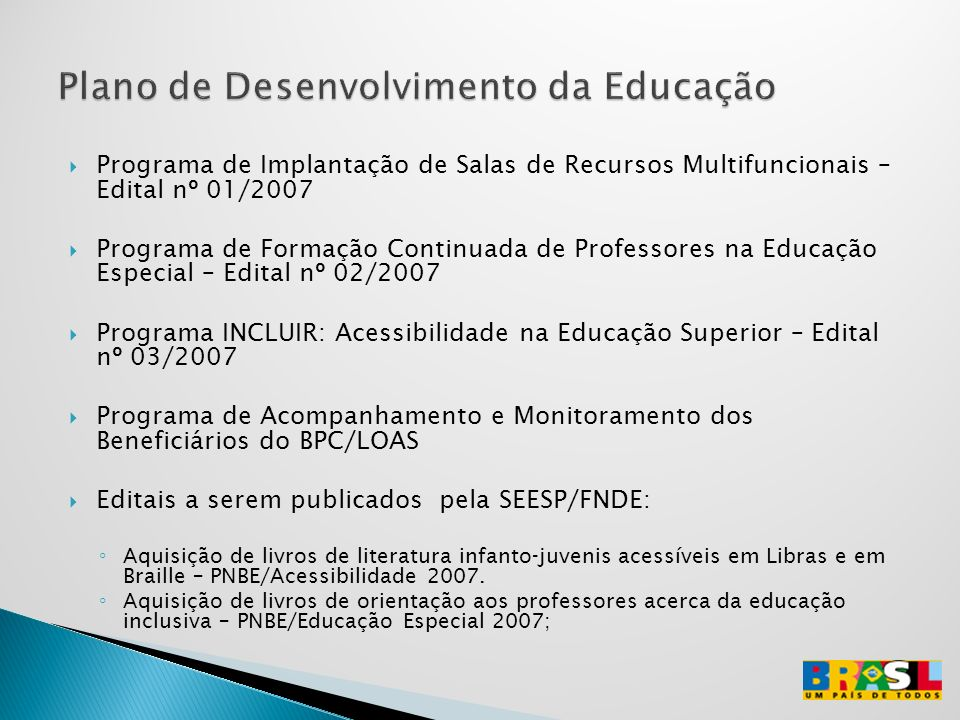 Plano de Desenvolvimento da Educação