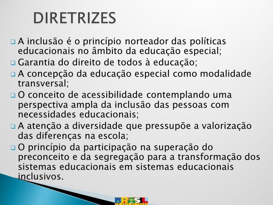 DIRETRIZES A inclusão é o princípio norteador das políticas educacionais no âmbito da educação especial;