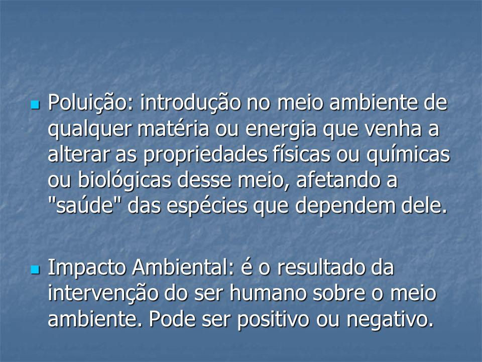 Poluição: introdução no meio ambiente de qualquer matéria ou energia que venha a alterar as propriedades físicas ou químicas ou biológicas desse meio, afetando a saúde das espécies que dependem dele.