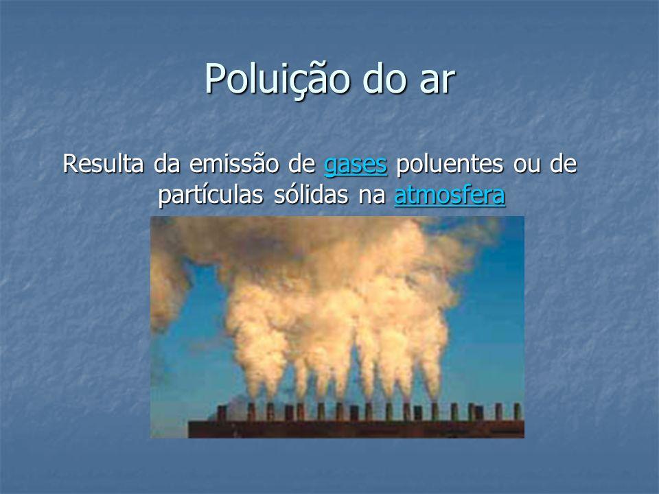 Poluição do ar Resulta da emissão de gases poluentes ou de partículas sólidas na atmosfera