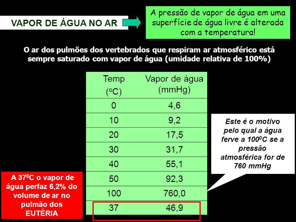 VAPOR DE ÁGUA NO AR Temp (oC) Vapor de água (mmHg) 4,6 10 9,2 20 17,5
