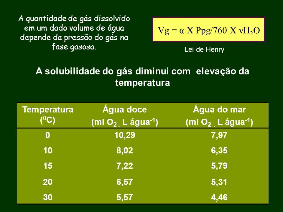 A solubilidade do gás diminui com elevação da temperatura